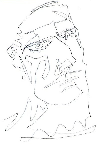 Blind Contour Line Drawing Face : Talking squares contour drawing face a by irish