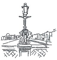 ink drawing of Lamp on Grattan Bridge